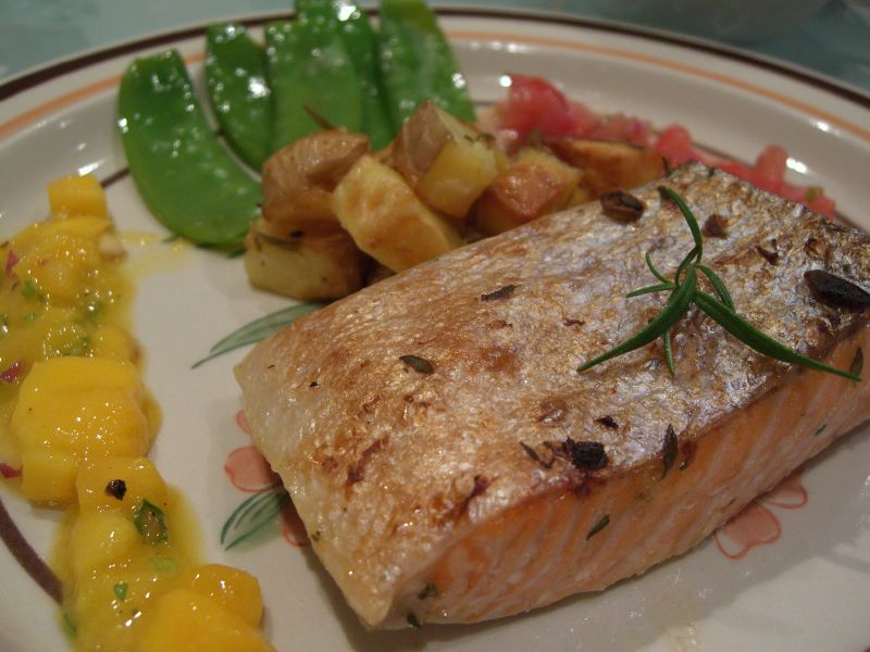 Oily fish such as grilled salmon